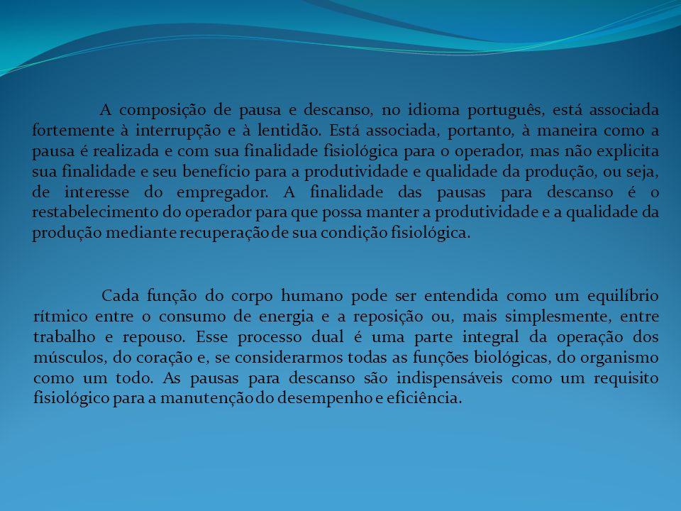 A composição de pausa e descanso, no idioma português, está associada fortemente à interrupção e à lentidão. Está associada, portanto, à maneira como