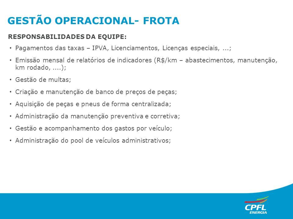GESTÃO OPERACIONAL- FROTA Pagamentos das taxas – IPVA, Licenciamentos, Licenças especiais,...; Emissão mensal de relatórios de indicadores (R$/km – ab