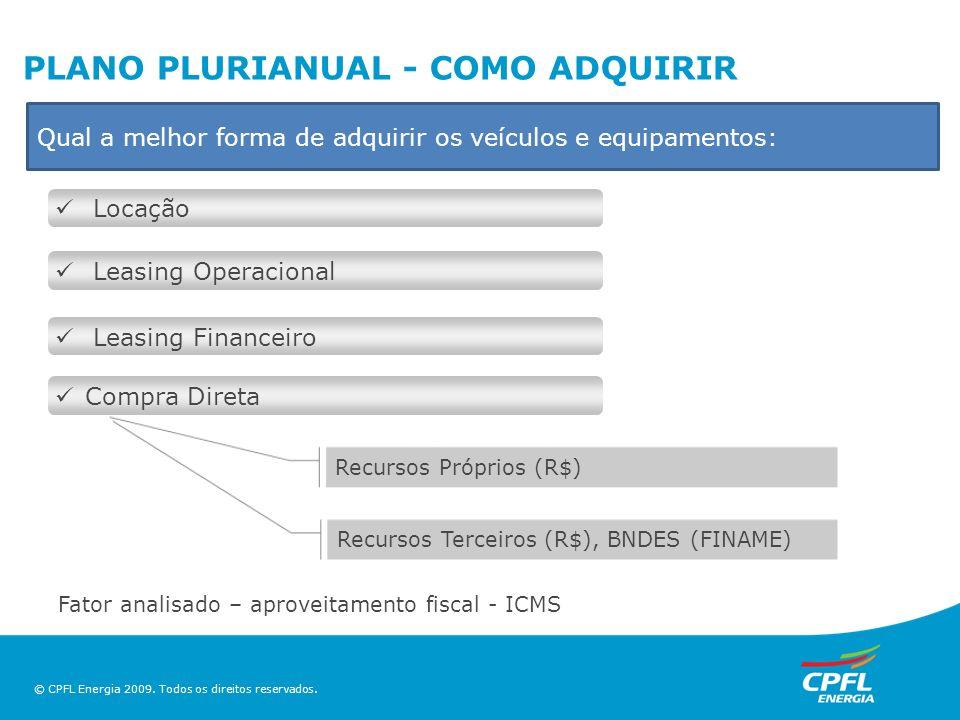 © CPFL Energia 2009. Todos os direitos reservados. PLANO PLURIANUAL - COMO ADQUIRIR Locação Leasing Operacional Leasing Financeiro Compra Direta Recur