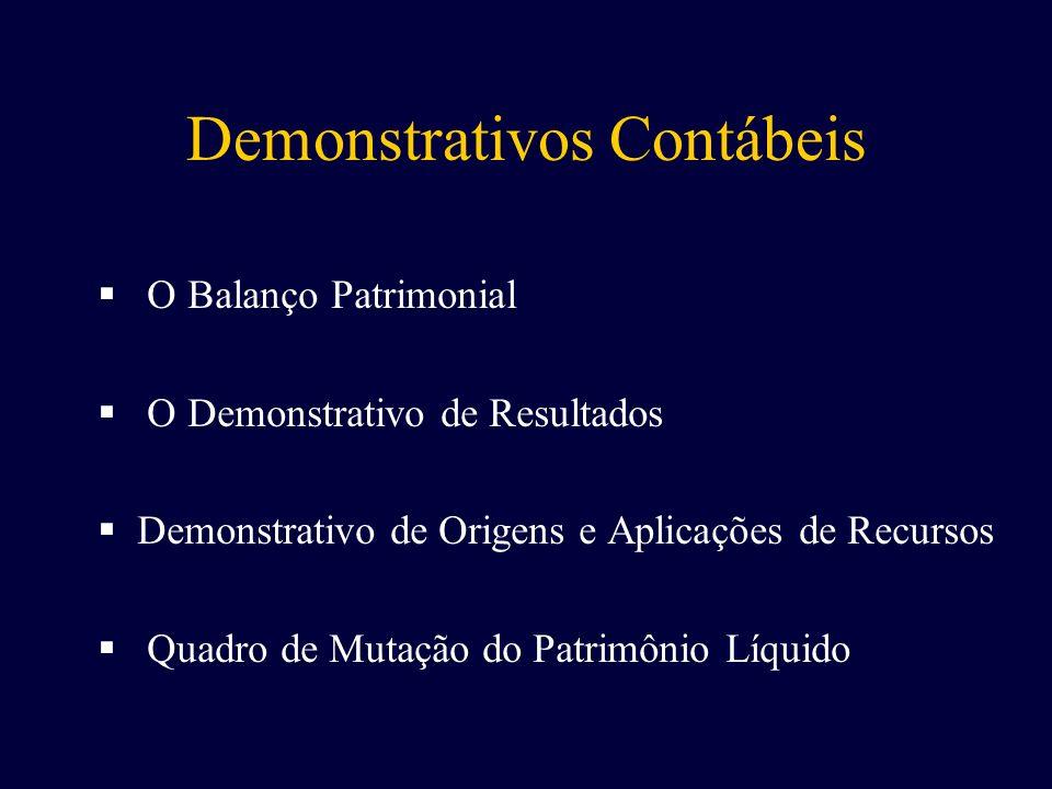 O Balanço Patrimonial O Demonstrativo de Resultados D emonstrativo de Origens e Aplicações de Recursos Q uadro de Mutação do Patrimônio Líquido
