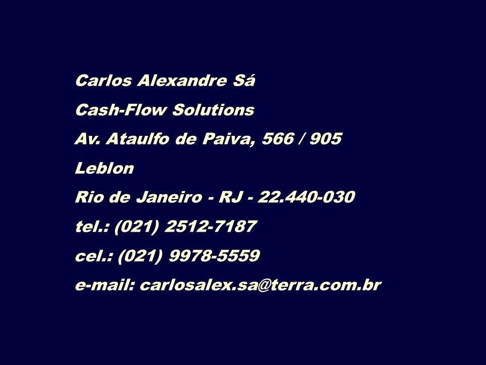 Carlos Alexandre Sá Cash-Flow Solutions Av. Ataulfo de Paiva, 566 / 905 Leblon Rio de Janeiro - RJ - 22.440-030 tel.: (021) 2512-7187 cel.: (021) 9978