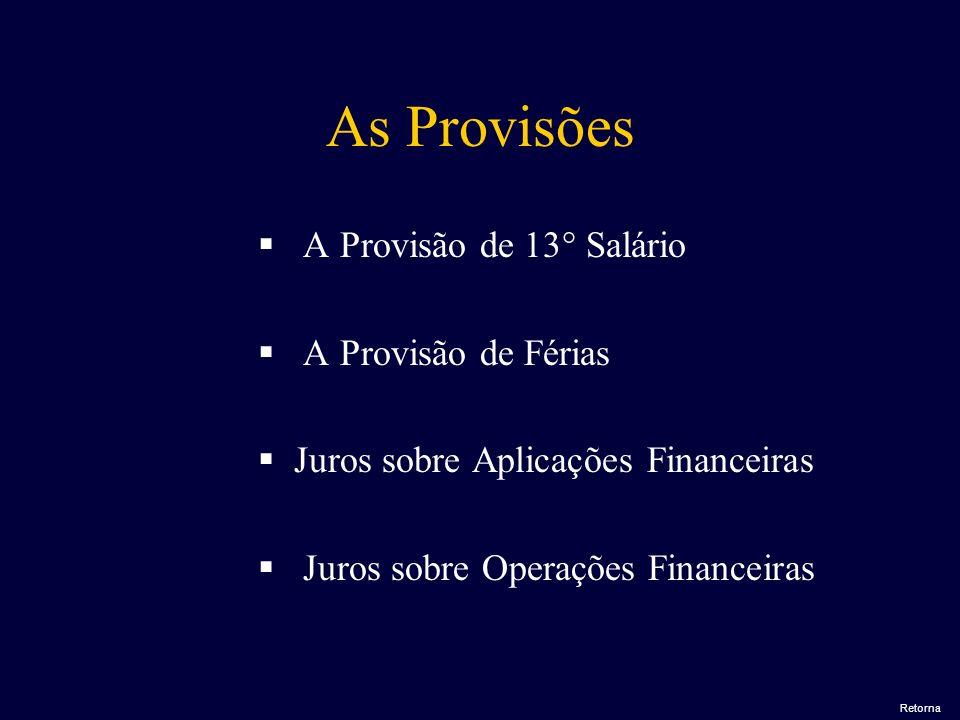 As Provisões A Provisão de 13° Salário A Provisão de Férias J uros sobre Aplicações Financeiras J uros sobre Operações Financeiras Retorna