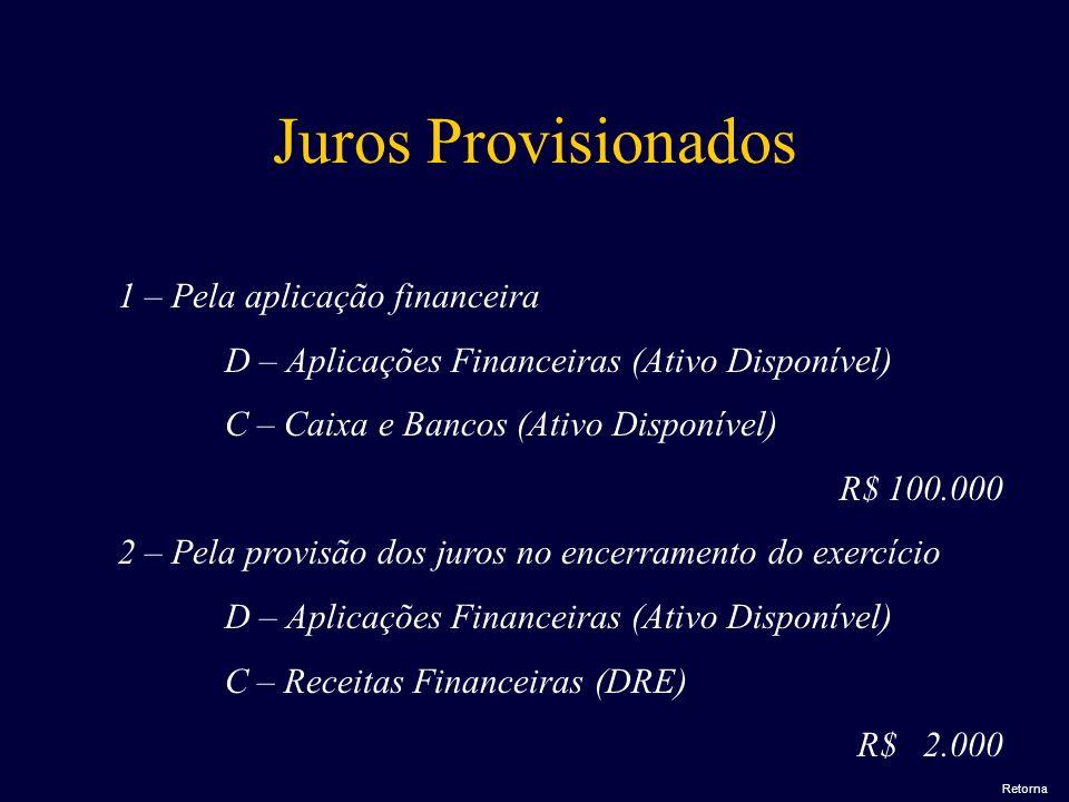 1 – Pela aplicação financeira D – Aplicações Financeiras (Ativo Disponível) C – Caixa e Bancos (Ativo Disponível) R$ 100.000 2 – Pela provisão dos jur