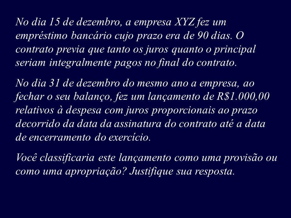 No dia 15 de dezembro, a empresa XYZ fez um empréstimo bancário cujo prazo era de 90 dias. O contrato previa que tanto os juros quanto o principal ser