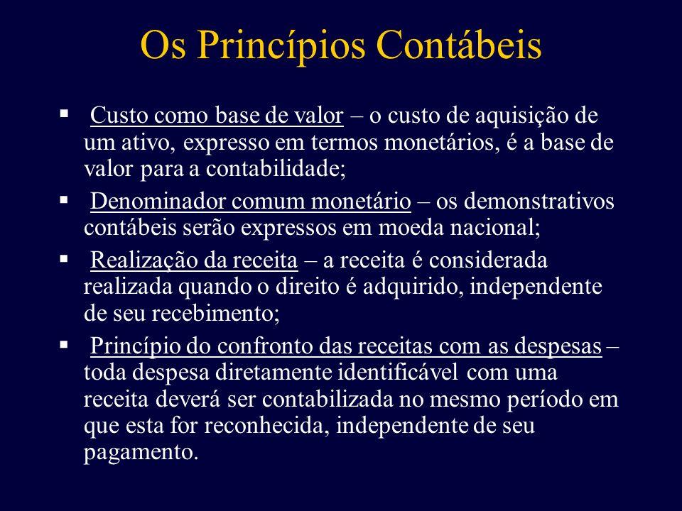 Os Princípios Contábeis C usto como base de valor – o custo de aquisição de um ativo, expresso em termos monetários, é a base de valor para a contabil