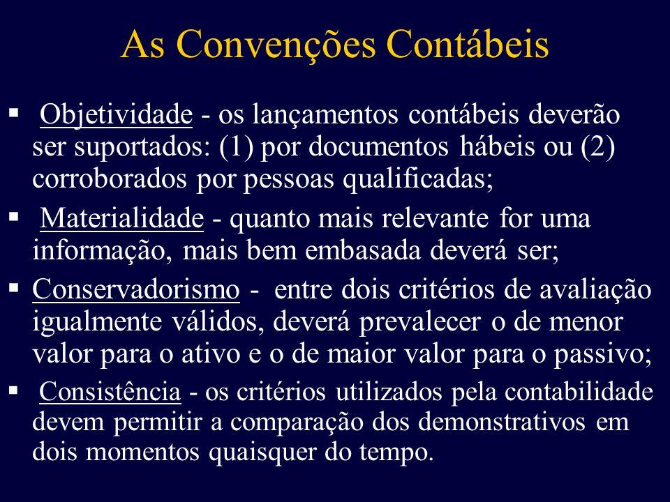 As Convenções Contábeis O bjetividade - os lançamentos contábeis deverão ser suportados: (1) por documentos hábeis ou (2) corroborados por pessoas qua