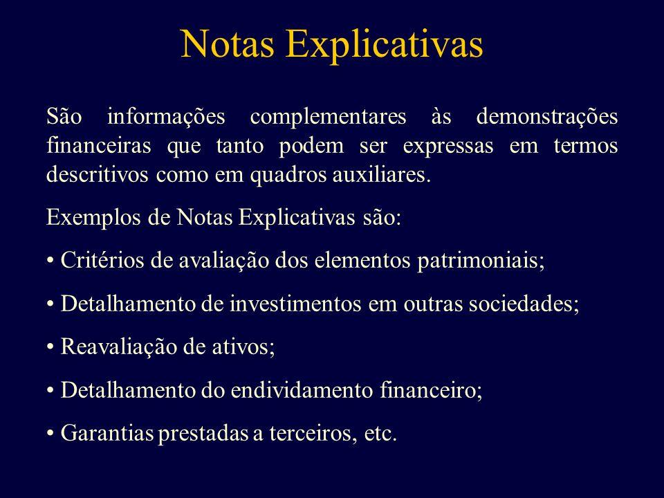 Notas Explicativas São informações complementares às demonstrações financeiras que tanto podem ser expressas em termos descritivos como em quadros aux