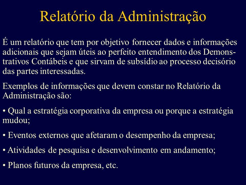 Relatório da Administração É um relatório que tem por objetivo fornecer dados e informações adicionais que sejam úteis ao perfeito entendimento dos De