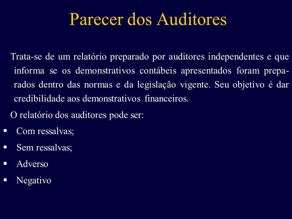 Parecer dos Auditores Trata-se de um relatório preparado por auditores independentes e que informa se os demonstrativos contábeis apresentados foram p