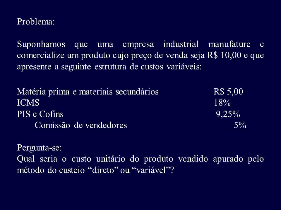 Problema: Suponhamos que uma empresa industrial manufature e comercialize um produto cujo preço de venda seja R$ 10,00 e que apresente a seguinte estr