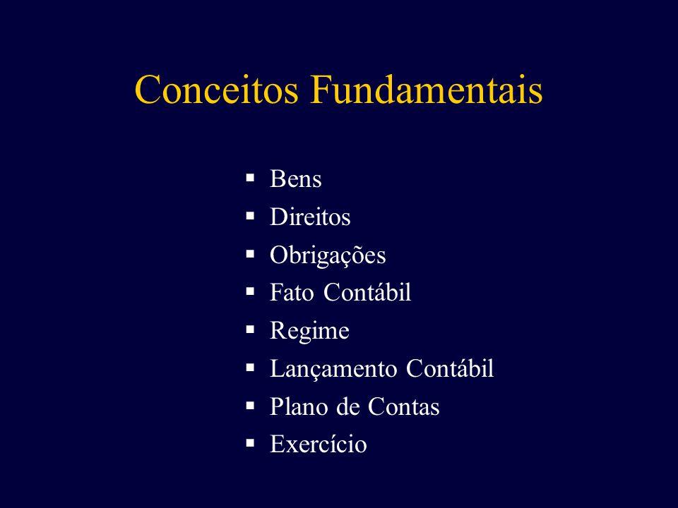 Bens Direitos Obrigações Fato Contábil Regime Lançamento Contábil Plano de Contas Exercício