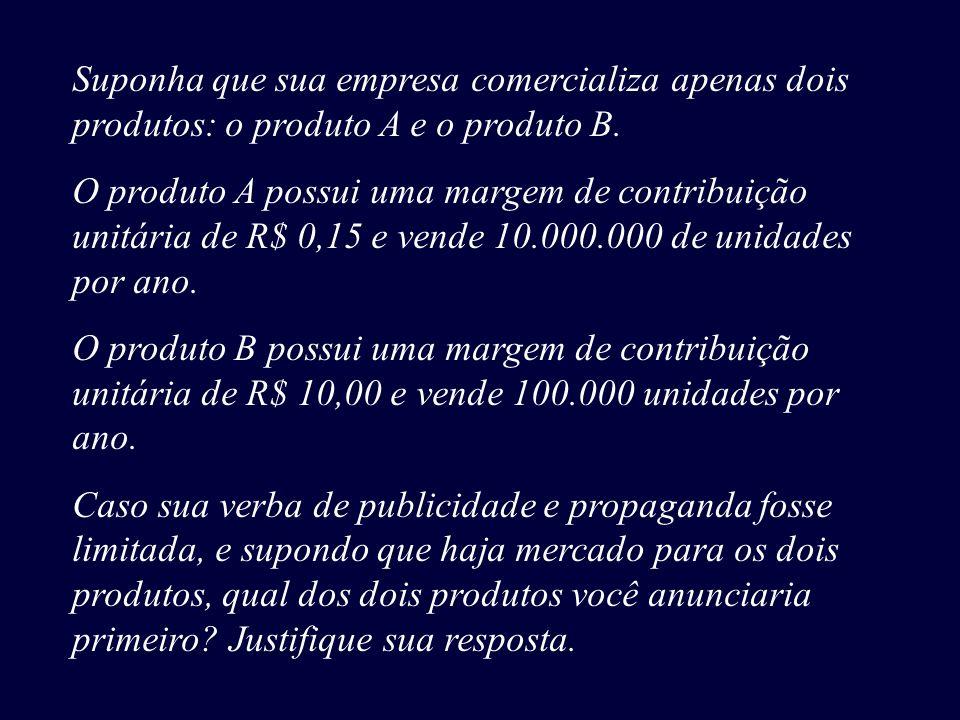 Suponha que sua empresa comercializa apenas dois produtos: o produto A e o produto B. O produto A possui uma margem de contribuição unitária de R$ 0,1