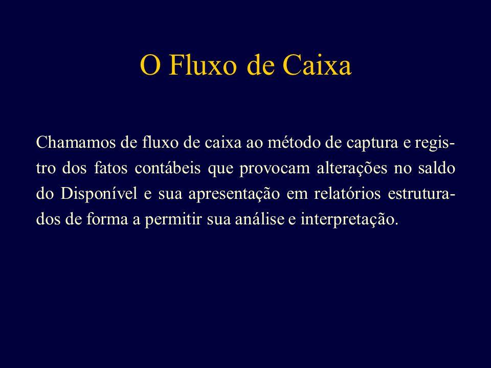 O Fluxo de Caixa Chamamos de fluxo de caixa ao método de captura e regis- tro dos fatos contábeis que provocam alterações no saldo do Disponível e sua