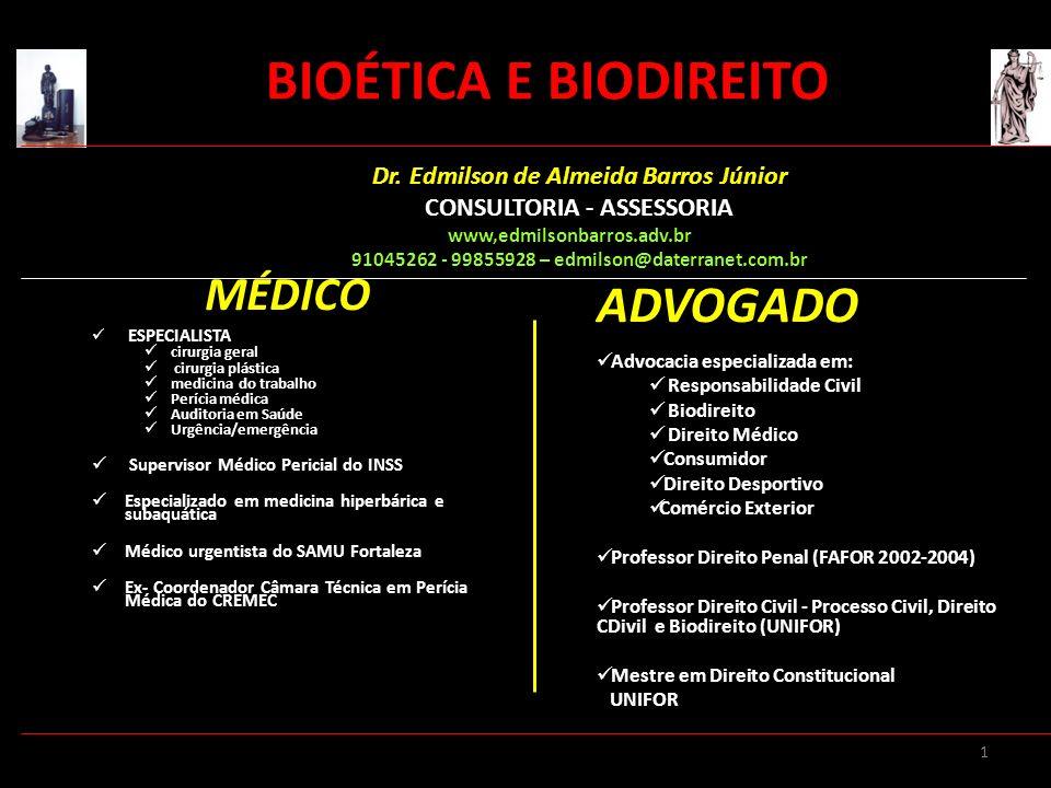32 Bioética X Biodireito EXPERIMENTOS CIENTÍFICOS EM HUMANOS Exigências mínimas Consentimento livre- esclarecido e escrito Previsão do acompanhamento e ressarcir despesas para participar na pesquisa Previsão de indenização Aprovação prévia de Comitê de Ética BIOÉTICA E BIODIREITO