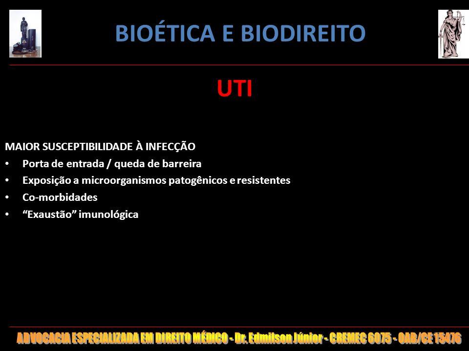 107 UTI MAIOR SUSCEPTIBILIDADE À INFECÇÃO Porta de entrada / queda de barreira Exposição a microorganismos patogênicos e resistentes Co-morbidades Exa