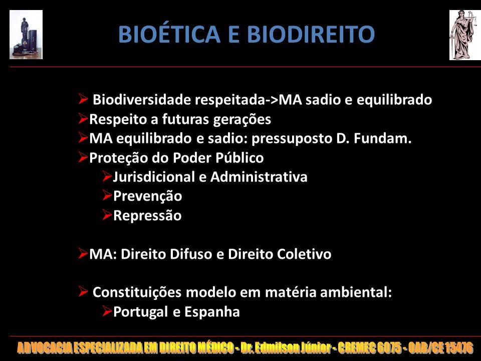 112 Biodiversidade respeitada->MA sadio e equilibrado Respeito a futuras gerações MA equilibrado e sadio: pressuposto D. Fundam. Proteção do Poder Púb