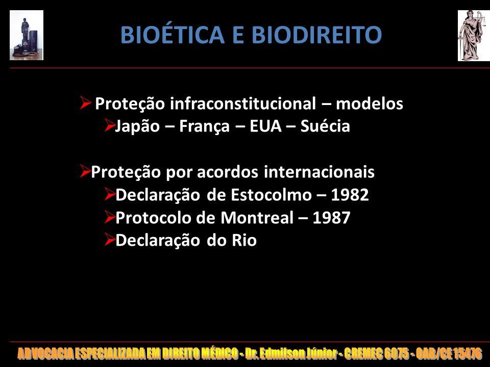 113 Proteção infraconstitucional – modelos Japão – França – EUA – Suécia Proteção por acordos internacionais Declaração de Estocolmo – 1982 Protocolo