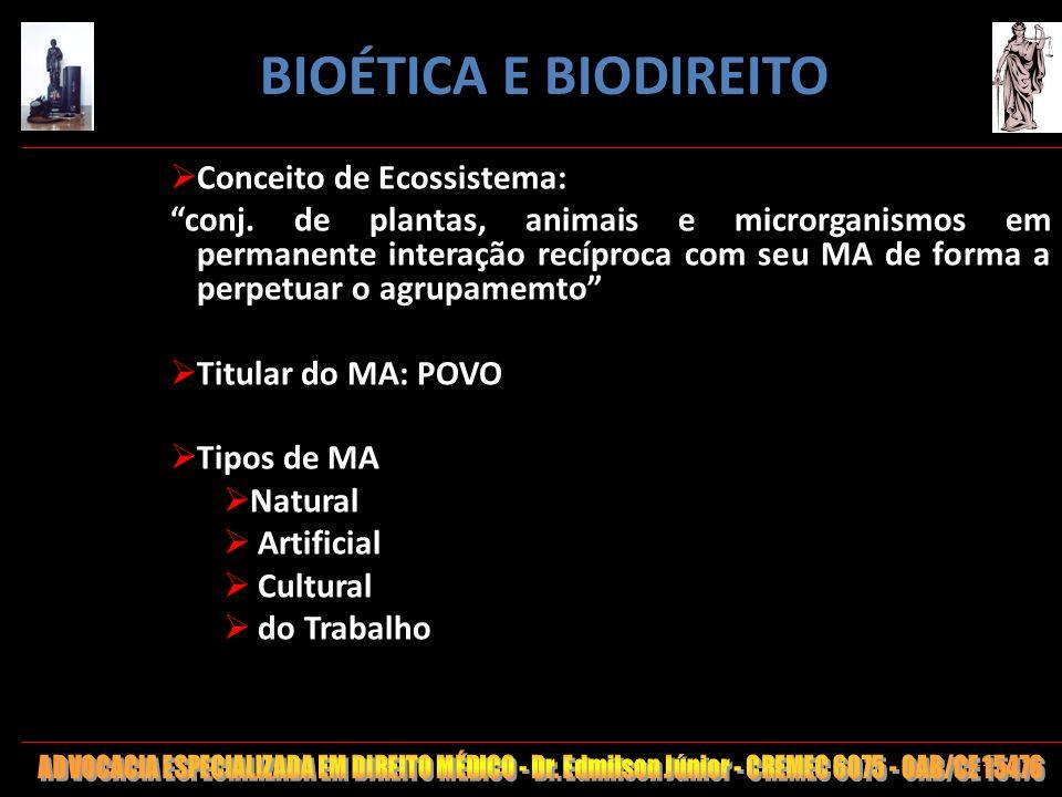 117 Conceito de Ecossistema: conj. de plantas, animais e microrganismos em permanente interação recíproca com seu MA de forma a perpetuar o agrupamemt