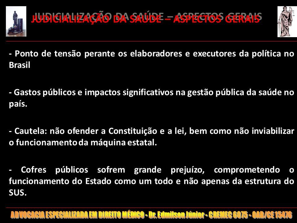 136 JUDICIALIZAÇÃO DA SAÚDE – ASPECTOS GERAIS - Ponto de tensão perante os elaboradores e executores da política no Brasil - Gastos públicos e impacto