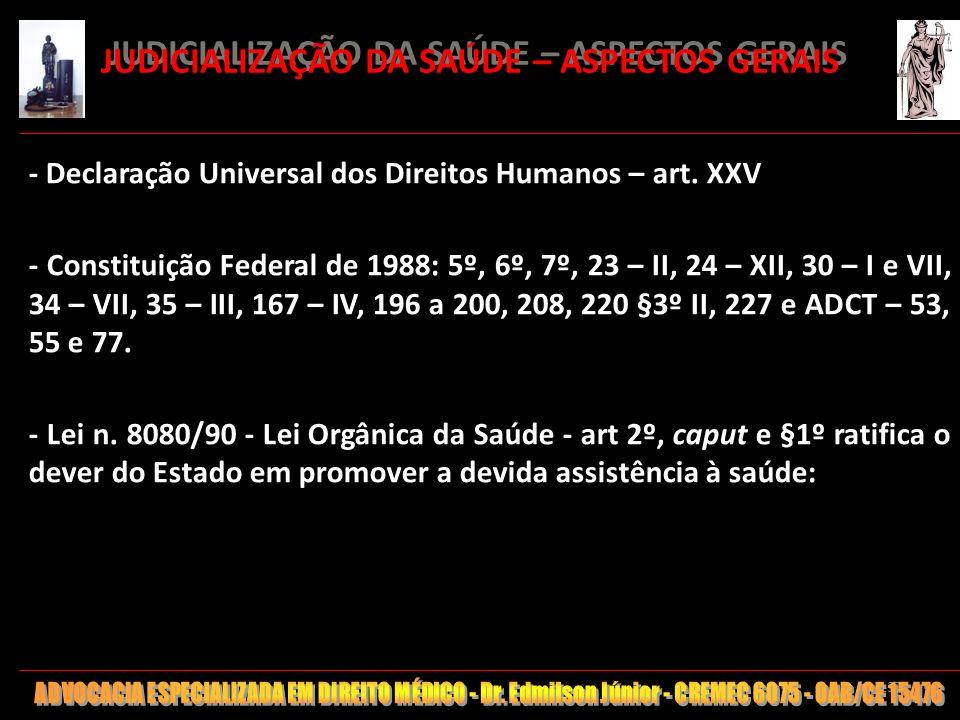 137 JUDICIALIZAÇÃO DA SAÚDE – ASPECTOS GERAIS - Declaração Universal dos Direitos Humanos – art. XXV - Constituição Federal de 1988: 5º, 6º, 7º, 23 –