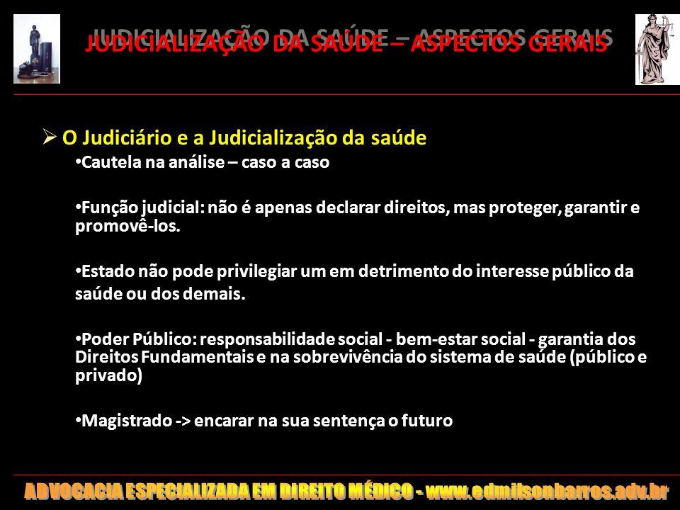 142 JUDICIALIZAÇÃO DA SAÚDE – ASPECTOS GERAIS O Judiciário e a Judicialização da saúde Cautela na análise – caso a caso Função judicial: não é apenas