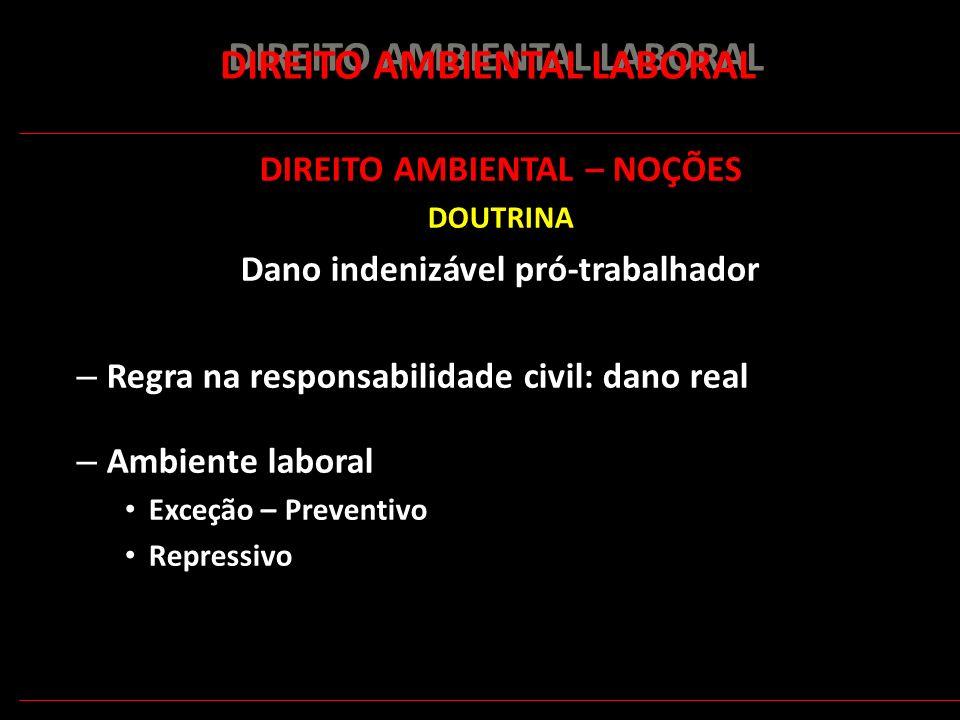 153 DIREITO AMBIENTAL LABORAL DIREITO AMBIENTAL – NOÇÕES DOUTRINA Dano indenizável pró-trabalhador – Regra na responsabilidade civil: dano real – Ambi