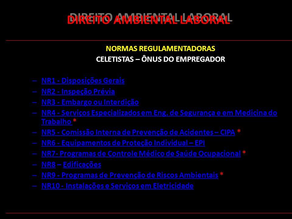 156 DIREITO AMBIENTAL LABORAL NORMAS REGULAMENTADORAS CELETISTAS – ÔNUS DO EMPREGADOR – NR1 - Disposições Gerais NR1 - Disposições Gerais – NR2 - Insp