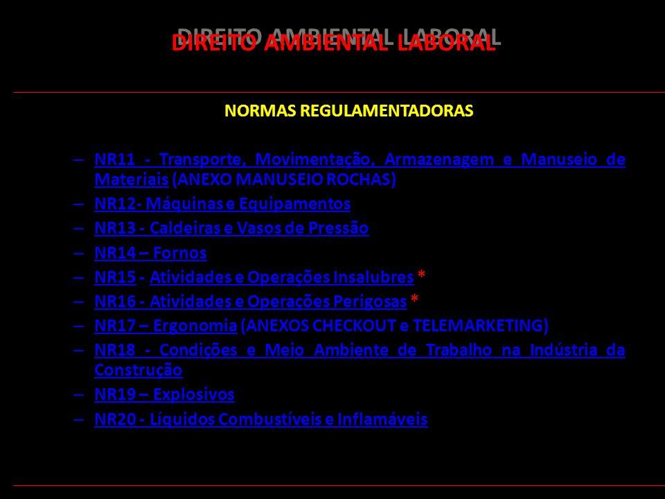 157 DIREITO AMBIENTAL LABORAL NORMAS REGULAMENTADORAS – NR11 - Transporte, Movimentação, Armazenagem e Manuseio de Materiais (ANEXO MANUSEIO ROCHAS) N