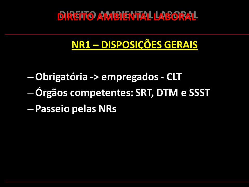 161 DIREITO AMBIENTAL LABORAL NR1 – DISPOSIÇÕES GERAIS – Obrigatória -> empregados - CLT – Órgãos competentes: SRT, DTM e SSST – Passeio pelas NRs