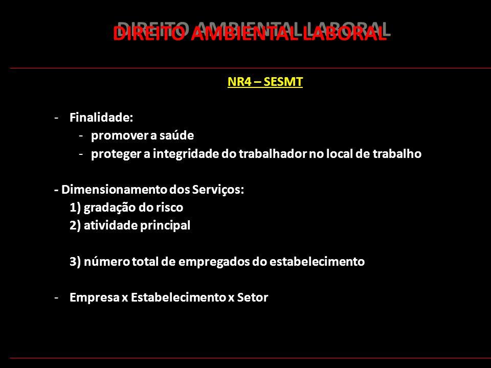 162 DIREITO AMBIENTAL LABORAL NR4 – SESMT -Finalidade: -promover a saúde -proteger a integridade do trabalhador no local de trabalho - Dimensionamento