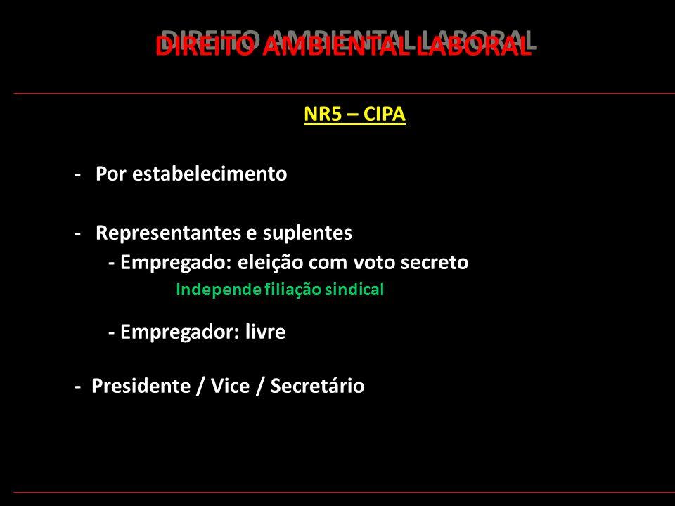 164 DIREITO AMBIENTAL LABORAL NR5 – CIPA -Por estabelecimento -Representantes e suplentes - Empregado: eleição com voto secreto Independe filiação sin