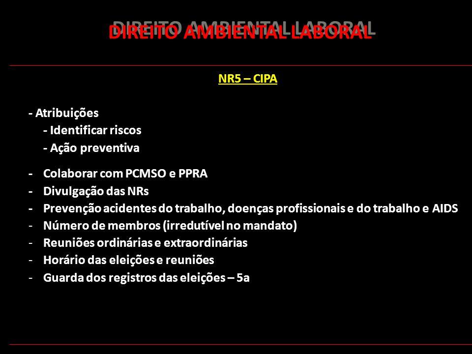 166 DIREITO AMBIENTAL LABORAL NR5 – CIPA - Atribuições - Identificar riscos - Ação preventiva - Colaborar com PCMSO e PPRA - Divulgação das NRs - Prev