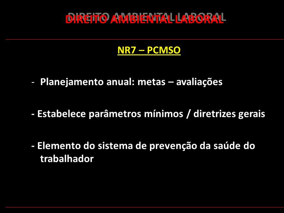 167 DIREITO AMBIENTAL LABORAL NR7 – PCMSO -Planejamento anual: metas – avaliações - Estabelece parâmetros mínimos / diretrizes gerais - Elemento do si