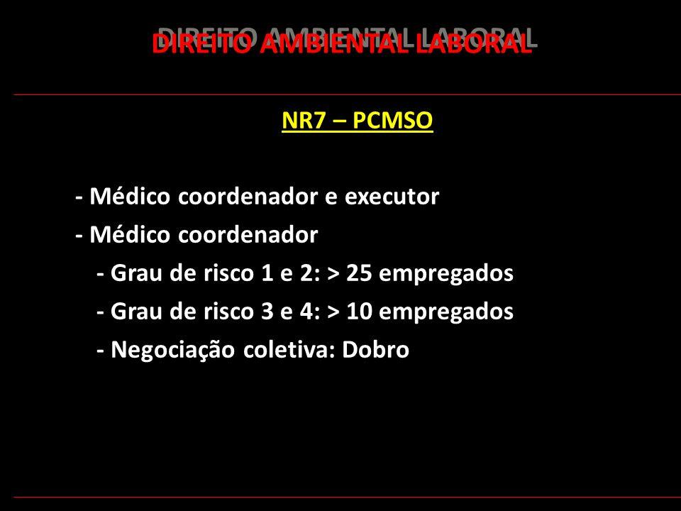 169 DIREITO AMBIENTAL LABORAL NR7 – PCMSO - Médico coordenador e executor - Médico coordenador - Grau de risco 1 e 2: > 25 empregados - Grau de risco
