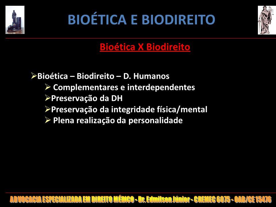 17 Bioética X Biodireito Bioética – Biodireito – D. Humanos Complementares e interdependentes Preservação da DH Preservação da integridade física/ment