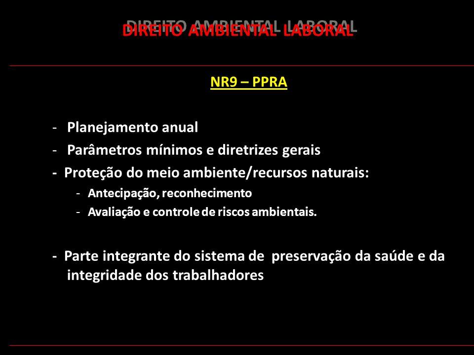 172 DIREITO AMBIENTAL LABORAL NR9 – PPRA -Planejamento anual -Parâmetros mínimos e diretrizes gerais - Proteção do meio ambiente/recursos naturais: -A