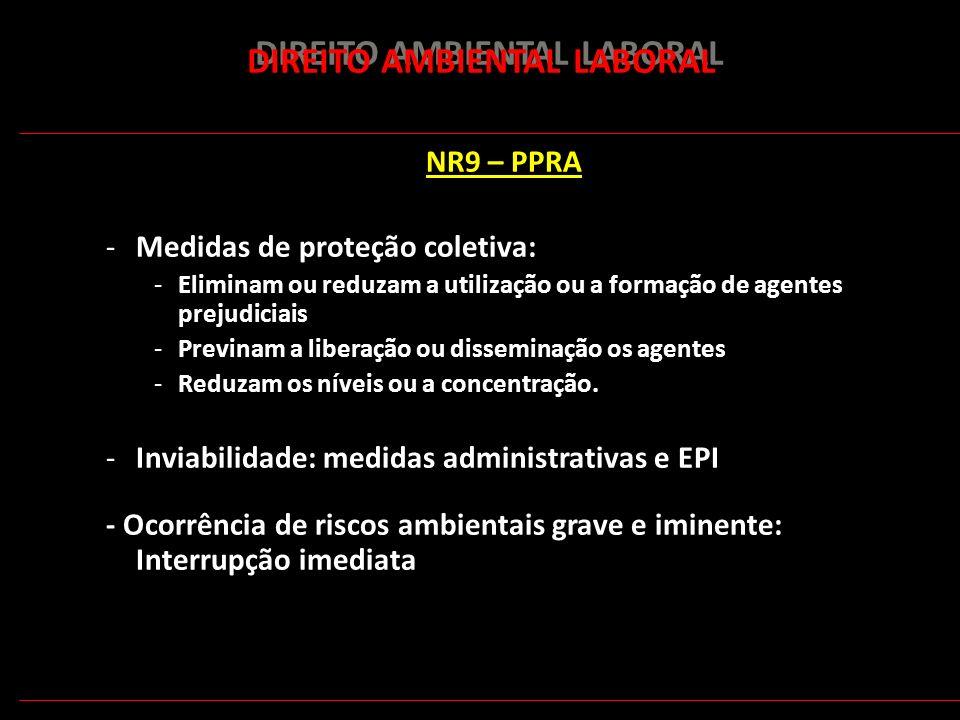 174 DIREITO AMBIENTAL LABORAL NR9 – PPRA -Medidas de proteção coletiva: -Eliminam ou reduzam a utilização ou a formação de agentes prejudiciais -Previ