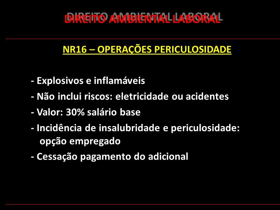 176 DIREITO AMBIENTAL LABORAL NR16 – OPERAÇÕES PERICULOSIDADE - Explosivos e inflamáveis - Não inclui riscos: eletricidade ou acidentes - Valor: 30% s