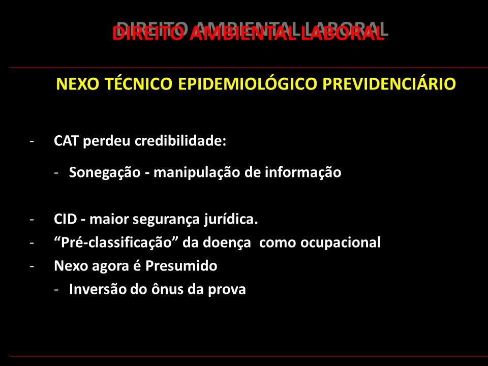 177 DIREITO AMBIENTAL LABORAL NEXO TÉCNICO EPIDEMIOLÓGICO PREVIDENCIÁRIO -CAT perdeu credibilidade: -Sonegação - manipulação de informação -CID - maio