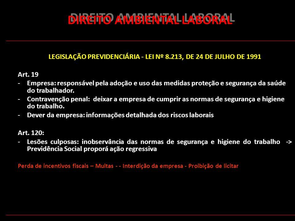 178 DIREITO AMBIENTAL LABORAL LEGISLAÇÃO PREVIDENCIÁRIA - LEI Nº 8.213, DE 24 DE JULHO DE 1991 Art. 19 -Empresa: responsável pela adoção e uso das med