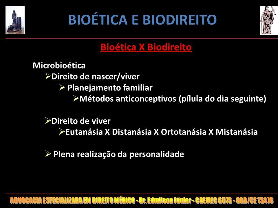 19 Bioética X Biodireito Microbioética Direito de nascer/viver Planejamento familiar Métodos anticonceptivos (pílula do dia seguinte) Direito de viver