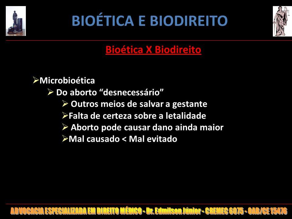 20 Bioética X Biodireito Microbioética Do aborto desnecessário Outros meios de salvar a gestante Falta de certeza sobre a letalidade Aborto pode causa