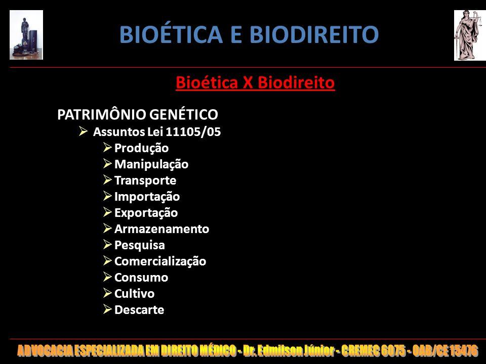 25 Bioética X Biodireito PATRIMÔNIO GENÉTICO Assuntos Lei 11105/05 Produção Manipulação Transporte Importação Exportação Armazenamento Pesquisa Comerc