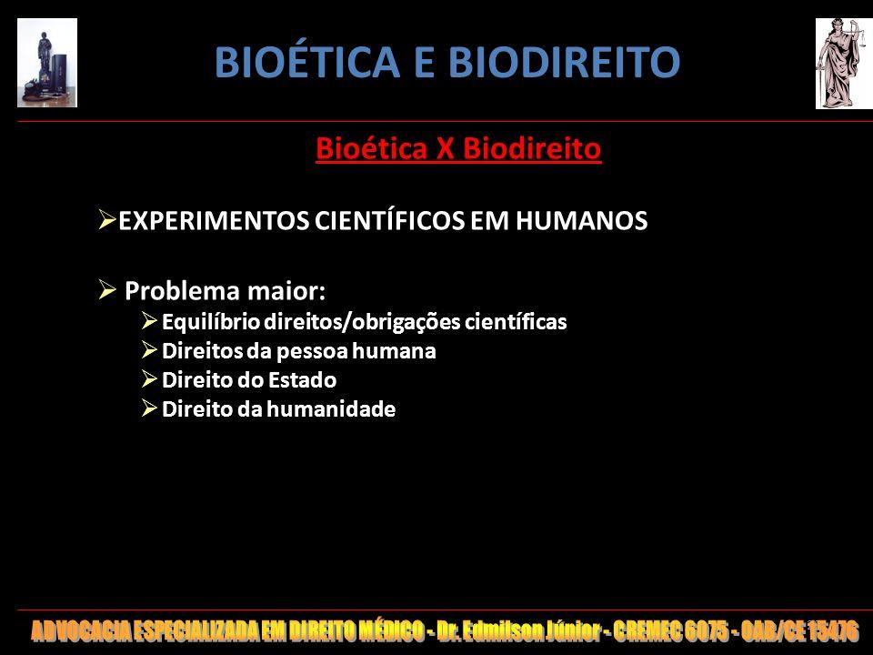 29 Bioética X Biodireito EXPERIMENTOS CIENTÍFICOS EM HUMANOS Problema maior: Equilíbrio direitos/obrigações científicas Direitos da pessoa humana Dire