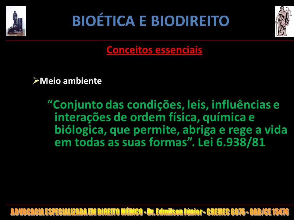 3 Conceitos essenciais Meio ambiente Conjunto das condições, leis, influências e interações de ordem física, química e biólogica, que permite, abriga