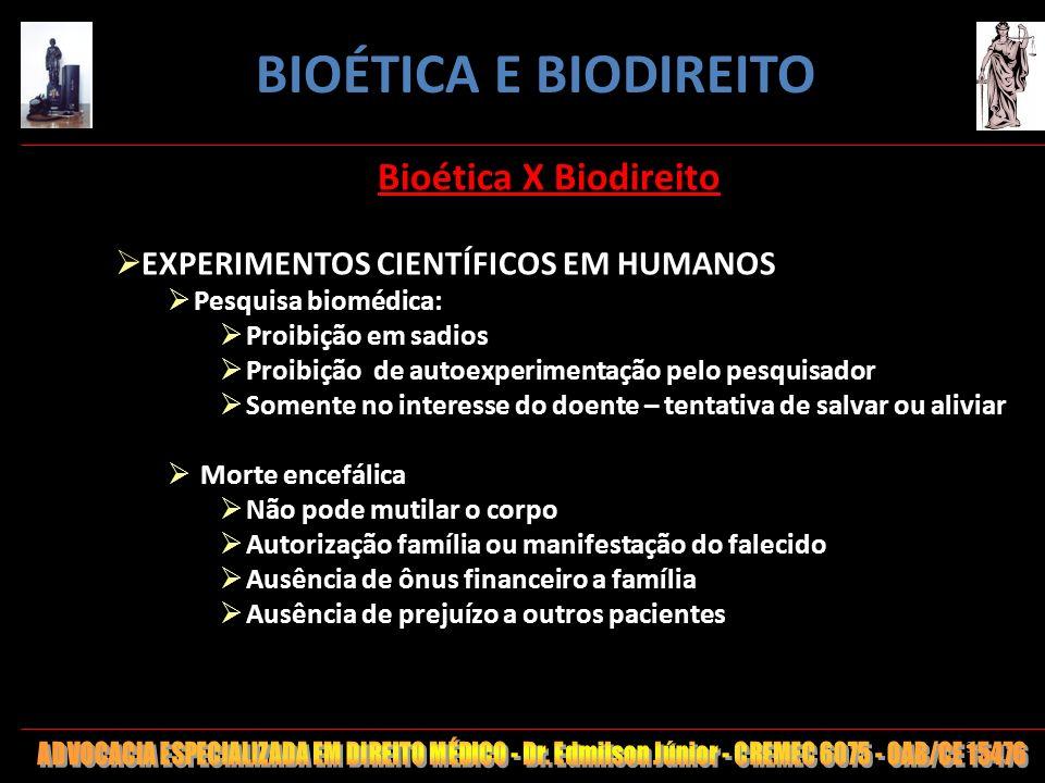 34 Bioética X Biodireito EXPERIMENTOS CIENTÍFICOS EM HUMANOS Pesquisa biomédica: Proibição em sadios Proibição de autoexperimentação pelo pesquisador