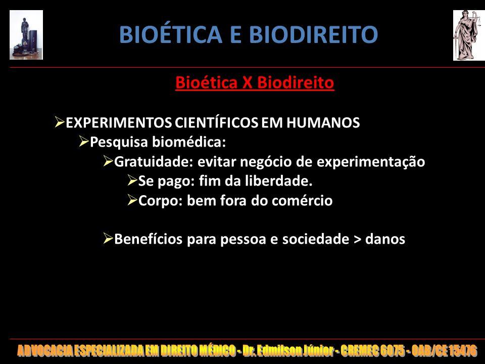 35 Bioética X Biodireito EXPERIMENTOS CIENTÍFICOS EM HUMANOS Pesquisa biomédica: Gratuidade: evitar negócio de experimentação Se pago: fim da liberdad
