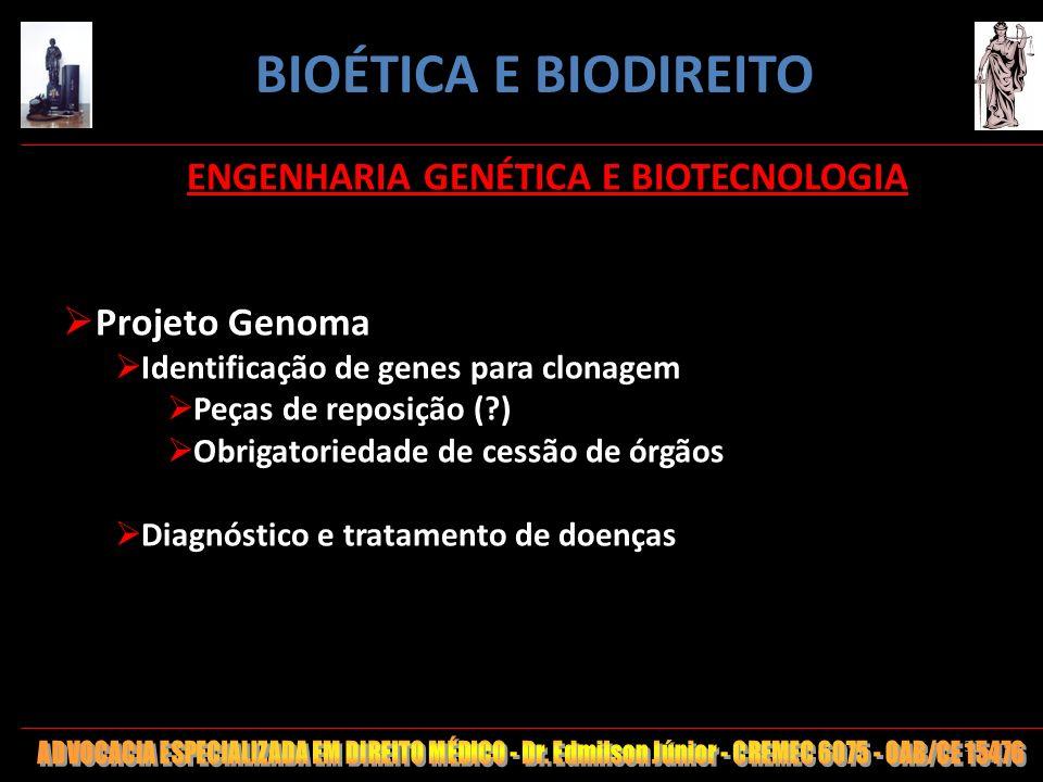 50 ENGENHARIA GENÉTICA E BIOTECNOLOGIA Projeto Genoma Identificação de genes para clonagem Peças de reposição (?) Obrigatoriedade de cessão de órgãos