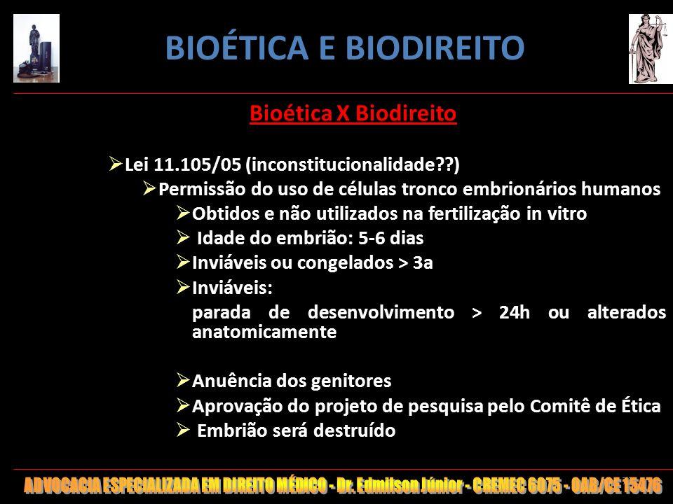 72 Bioética X Biodireito Lei 11.105/05 (inconstitucionalidade??) Permissão do uso de células tronco embrionários humanos Obtidos e não utilizados na f