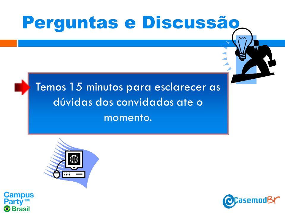 Perguntas e Discussão Temos 15 minutos para esclarecer as dúvidas dos convidados ate o momento.